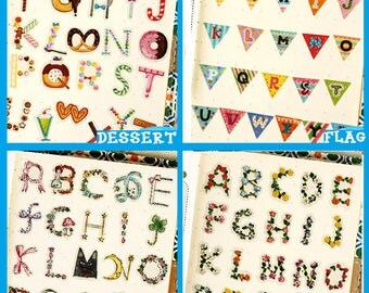 156 pcs~ Any 2 packs Kawaii Sticker, Cute Special Sticker, Letter, colorful, flag, UV resin card decoration, decor