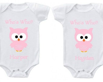 Twins Onesies | Personalized Who's Who Custom Owl Creepers | Makes a great baby shower gift!