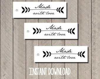 Digital label tags Made with love/ printable download pdf image sheet/ favor gift tags