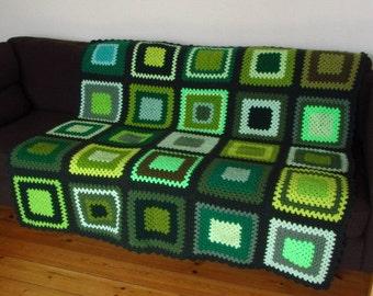 "Afghan Blanket Green Crochet Blanket 50""x50"" 127cm x 127cm"