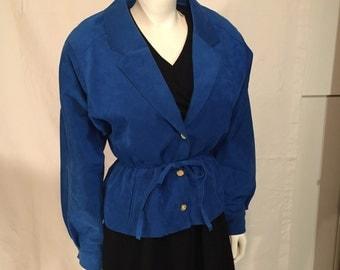 Vintage Ultrasuede Brand Big Shoulder Classic Bomber 80s Electric Blue Jacket Long Sleeve Medium M