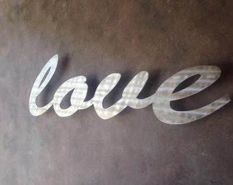 Love Large Metal Wall Art - Word Art - Love Art - Metal Art - Wall Art - Silver Art - Home Decor - Love