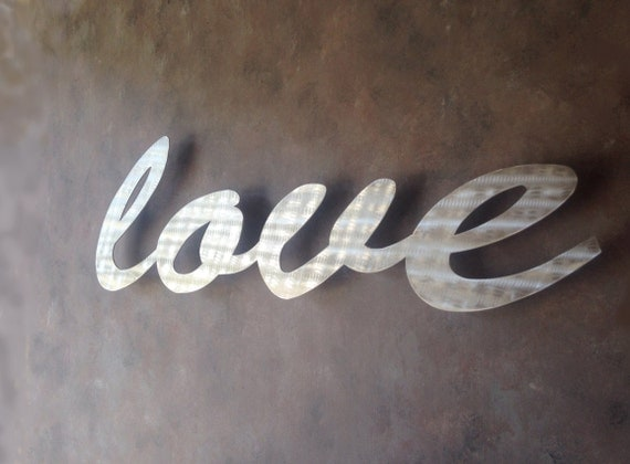 Large Silver Wall Decor: Love Large Metal Wall Art Word Art Love Art By INSPIREMEtals