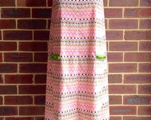 Retro Style Sleeveless Pocket Mumu Dress: Multicolor Pixel Chevron w/ Green pompon trim; free size, Cotton, Handmade