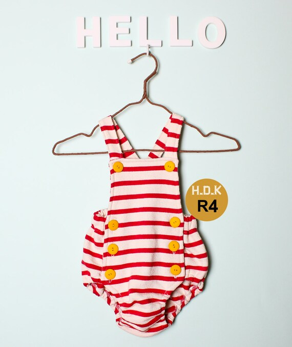 Kids Sewing Pattern Pdf Retro Baby Toddler Romper One Piece