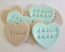 24 Wedding Favor Candy Heart Personalised Edible Cake Toppers Sugar Fondant Cupcake Save the Date Engagement Party Decor Anniversary Gift