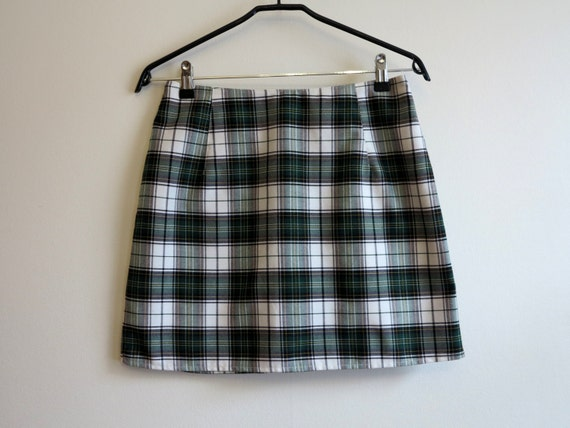 Green Black White Tartan Plaid Mini Skirt Checkered Skirt