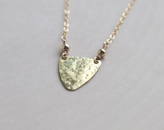 Hammered Shield Necklace, Hammered Necklace, Shield Jewelry, Hammered Jewelry