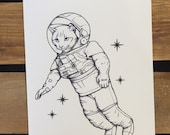 "Tiny Postcard Sized Space Cat Print - 4.25 x 5.5"" - Kitty Cat Art Print - Astronaut Cat"