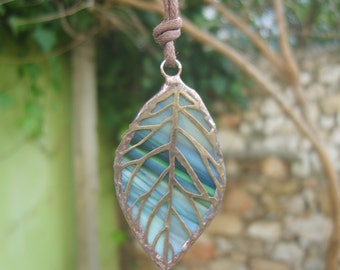 Leaf Pendant - Stained Glass Green Leaf Necklace