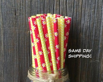 100 Red Daisy and Yellow Chevron Paper Straws - Birthday, Picnic or Party Supply, Free Shipping!