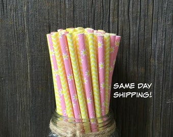 100 Pink Daisy and Yellow Chevron Paper Straws- Wedding, Birthday,Picnic or Party Supply, Free Shipping!