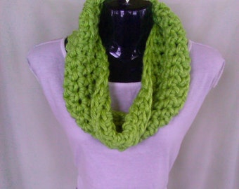 Lime Green Crochet Infinity Scarf/Cowl - Ready to Ship