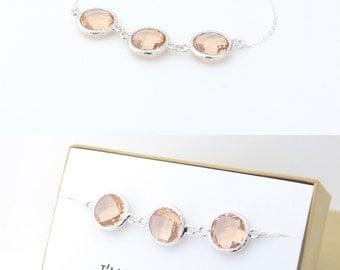 Peach Champagne / Silver Triple Circle Bracelet - Peach Bridesmaid Gift - Peach Jewelry - Bridesmaid Bracelet - Wedding Jewelry - BB3