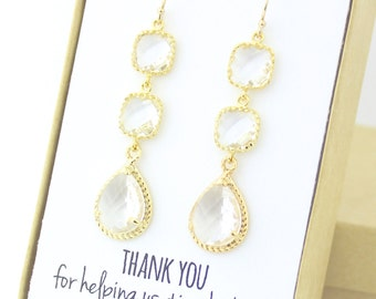 Clear Crystal / Gold Three Piece Rope Rim Earrings - Clear Crystal Earrings - Crystal Earrings - Bridesmaid Earring - Long Earrings - ER3