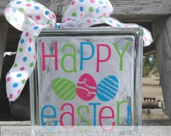 HAPPY EASTER! (Multi-Color) - Spring Vinyl Lettering for Glass Blocks - Craft Decals