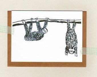 SLOTH . greeting card . blank . sloths . mini print . friendship . valentines . wedding . just because . sloth drawing art .  australia