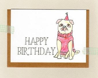 PUG . happy birthday . puggy birthday . thank you . custom personalised . greeting card . fawn pug illustration art print . red . australia