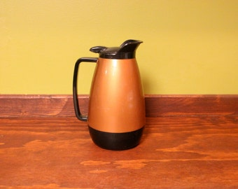 Classic Carafe Vintage Thermal Coffee Pitcher ( A retro diner style insulated copper and black carafe.) 36 ounce / 9 inch tall