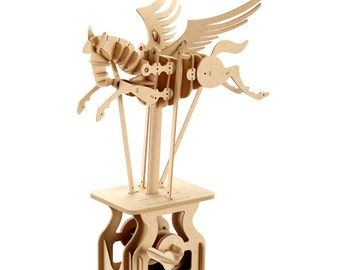 3D Wooden Puzzle Moving Model Kit DIY Moving Mechanical Wooden Automata Pegasus