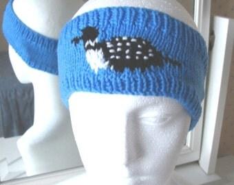 Loon, knitted headband, blue headband, handmade in England