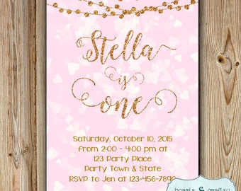 Gold Glitter Birthday Invitation / Pink and Gold Glitter Birthday Party Invitation / Glitter and Bokeh Invitation - FILE to PRINT