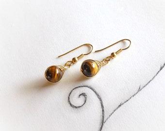 Tigers Eye Earrings, Small Drop Earrings, Small Gemstone Drop Earrings, Tigers Eye Gemstones, Small Earrings, Gemstone Earrings