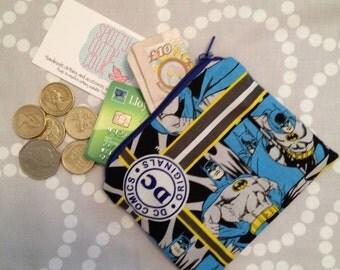 Superhero Coin Purse using Batman Fabric. Fully Lined!