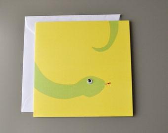 Googly eyed snake card
