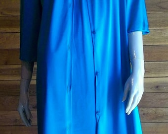 Vintage Lingerie 1970s LORRAINE Teal Nightgown and Robe Set