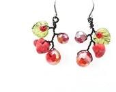 Titanium Earrings, Unique Dangle Crystal Gemstone Handmade Nature Wild Berry Beaded Red Bohemian Statement gifts Earrings, Korean Jewelry