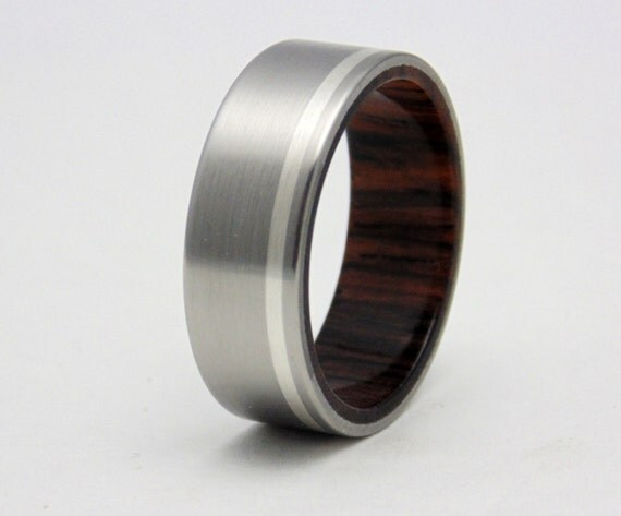 titanium and wood wedding ring cocobolo wood with silver inlay