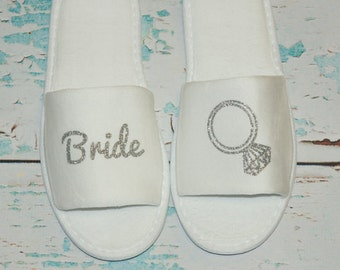 Mrs. Bride Slippers Shoes Terry. White Sparkly. Bridal Party. Wedding Gift. Bridal Shower. Getting Ready Outfit