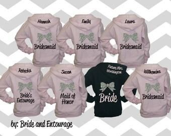 Set of 10 Bridesmaid hoodies with bow and name. Bridesmaid sweatshirt. Bridesmaid hoodie. Bridesmaid jacket. Wedding jackets. Wedding hoodie