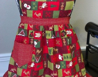 Holiday Woodland Girls Apron