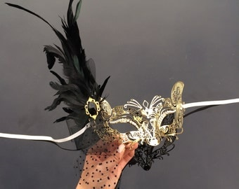 The Great Gatsby Dress, 1920's [Foxy Cat Themed] Masquerade Mask, Gold Venetian Masquerade Mask with Diamonds, Veil, Feathers and Gems