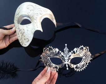 His & Hers Romantic Phantom Masquerade Masks [Ivory/Silver Themed] - Ivory Half Mask and Silver Laser Cut Masquerade Mask with Diamonds