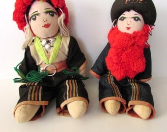 Two Pretty Rag Cloth Dolls From Thailand.