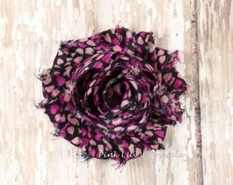 SIX Valentine Flower, Black Pink Heart Shabby Flowers - Great for DIY Headbands - Shabby Chiffon - Flower Trim - Wholesale Supplies - Heart