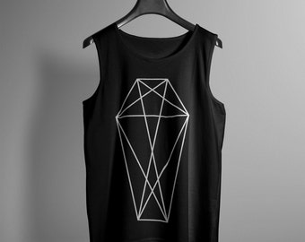 Mens Geometric Coffin Tank Top - Occult Tank - Occult Print Graphic Tank - Graphic Tee - Graphic Tank Top - Occult Shirt