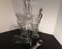 Vintage Milkshake Sundae Glasses Lot of Milkshake Glasses 5 Pieces