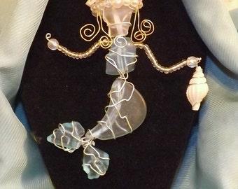 Wire Wrap Sea Glass Mermaid