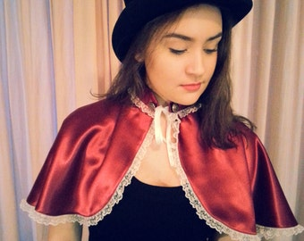 Steampunk Cape, Steampunk Costume, Steampunk Accessory, Steampunk Shawl, Red Riding Hood, Victorian Cape, Lolita Cape, Lolita Costume