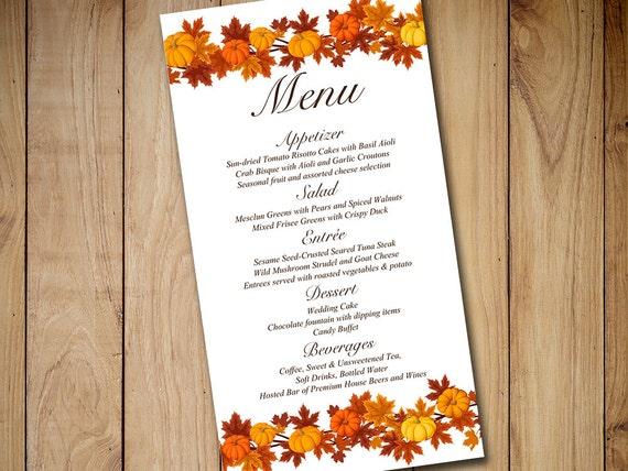 fall wedding menu card template download