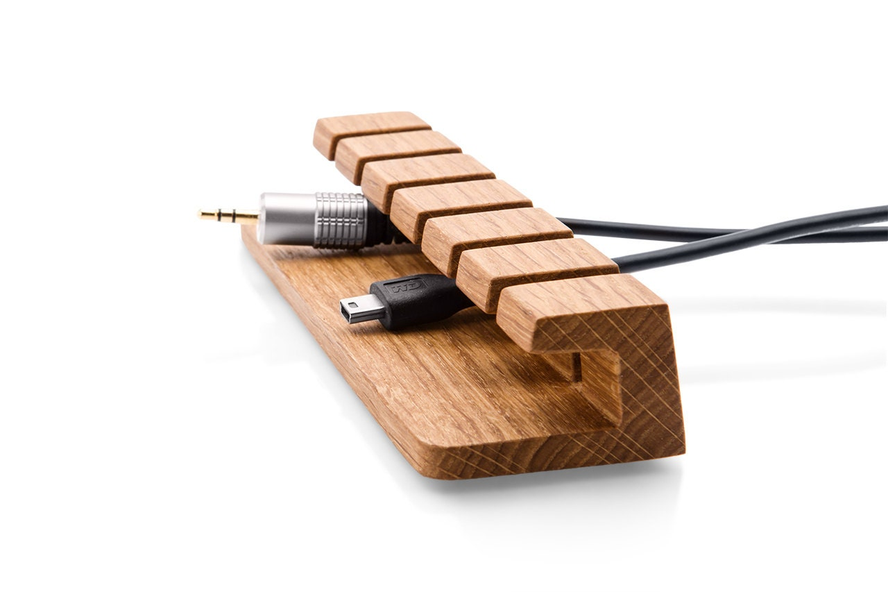 Wooden cable and charger organizer cable management for - Desk cord organizer ...