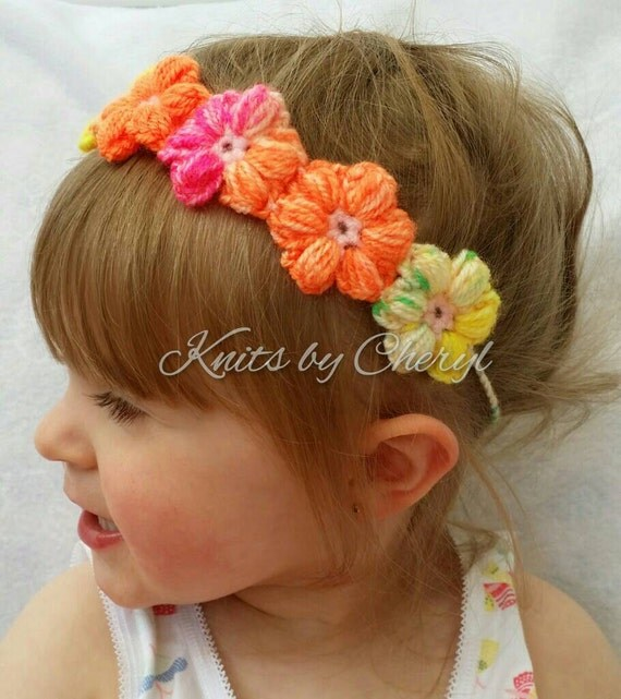 Crochet Hair Puff : Items similar to Puff Flower Headband Halo Tieback Wreath Crochet Hair ...