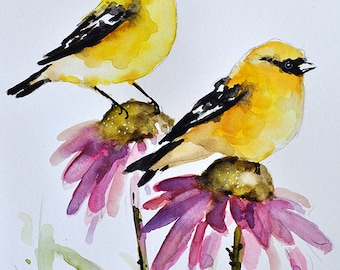 ORIGINAL Watercolor Bird Painting, Goldfinches on Purple Pink Daisies, Daisy Flower, Bird Art 6x8 Inch