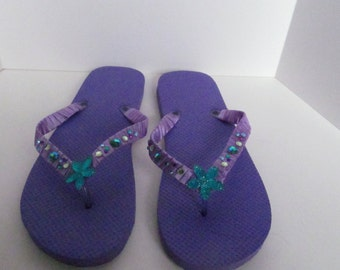Purple ribbon flip flops fabric sandals beach flip flops  purple sandals purple flats