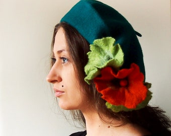 Classic French Beret- Herbacé- Antidotum- Craftwork- Felted Flower- Elegant & Romantic