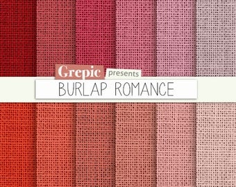 """SALE 50% Pink burlap: digital paper """"BURLAP ROMANCE"""" with burlap / canvas / linen textures in pink and peach shades 